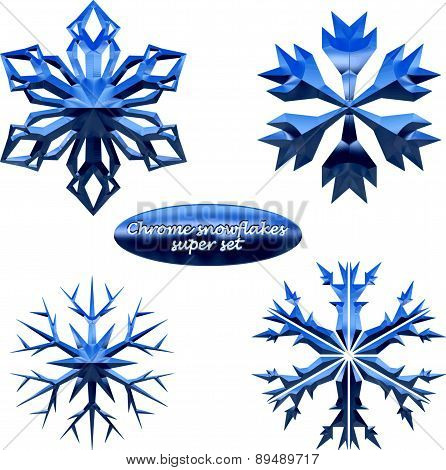 Snowflakes set. Vector chromed metal snowflakes