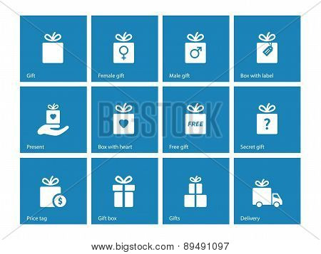 Collection of present boxes on blue background.