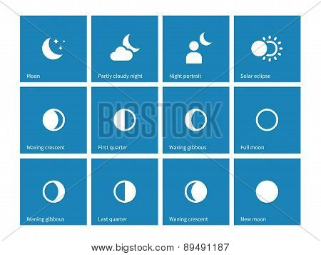 Moon lunar cycle icons on blue background.