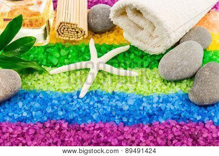 Sea Salt With Shell, Stones, Aroma Oil, Mat And Bath Towel