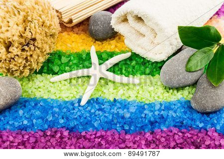 Sea Salt With Shell, Bath Towel, Stones, Coral Sponge, Mat And Leaves