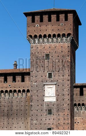 Torre Di Bona Di Savoia At The Castello Sforzesco In Milan, Italy