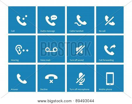 Phones related icons on blue background.