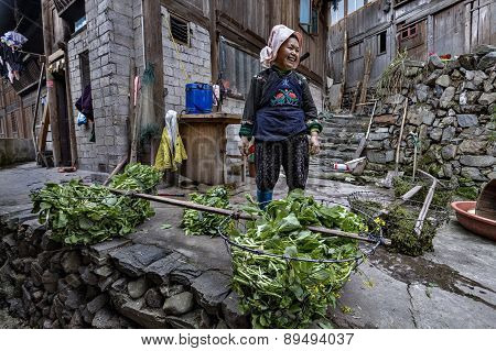 Asian Woman Farmer Miao People, Stands In Courtyard Peasant House.