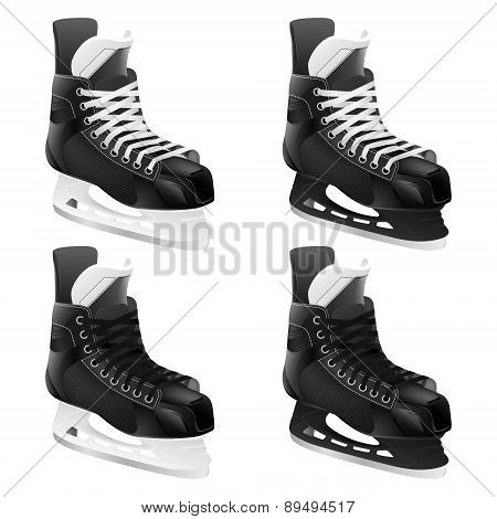 Set Of Vector Ice Hockey Skates