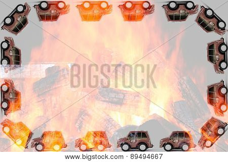 Frame Of Fireman Toy Cars
