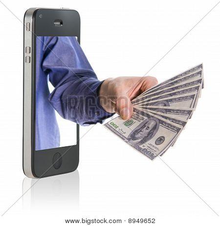 Geben Geld über Smartphone