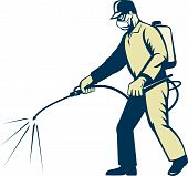 picture of pest control  - illustration of a Pest control exterminator worker spraying side view - JPG