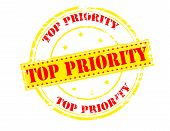 pic of priorities  - Rubber stamp with text top priority inside vector illustration - JPG