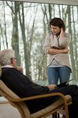 pic of psychological  - Young women at psychological session with her therapist - JPG