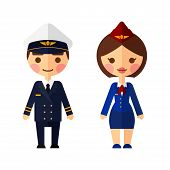 picture of flight attendant  - Ship captain on white background - JPG