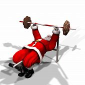image of humbug  - santa working out by lifting weights.