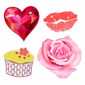 picture of single white rose  - Vector illustration of pink rose heart kiss lips cupcake isolated on white background - JPG
