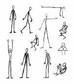 picture of skinny  - Hand drawn vector illustration or drawing of some men long skinny silhouettes - JPG