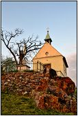 pic of chapels  - On a rock surrounded by vineyards is a chapel with a cross beside her still bare tree in early spring - JPG