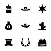 picture of wild west  - Vector wild west icon set on white background - JPG