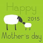 foto of sheep  - Cute sheep with dark grey head ear eye legs and white body with space for your text and little lamb standing opposite one another isolated on green background with lettering Happy Mother - JPG