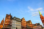 stock photo of frankfurt am main  - Historic center of Frankfurt am Main in Hessen Germany with the Cathedral in the background - JPG