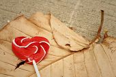 image of valentine candy  - Candy valentines hearts on a brown leaf - JPG