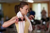 stock photo of weight lifter  - Woman lifting weight - JPG