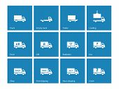 image of food truck  - Commercial delivery truck icons on blue background - JPG
