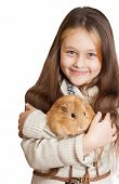 foto of guinea pig  - smiling girl holding a guinea pig on a white background isolated - JPG