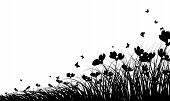 foto of butterfly-bush  - Meadow background with butterflies - JPG