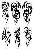 stock photo of tendril  - Set of tribal tattoos - JPG