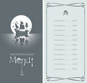 picture of pirate flag  - vectors menu with pirate sailing ship and the Jolly Roger - JPG
