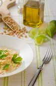 foto of chickpea  - Chickpeas with paprika cream sauce sprinkled with herbs organic chickpeas