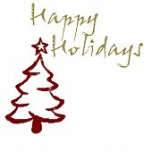 image of happy holidays  - happy holidays on white with red christmas tree - JPG