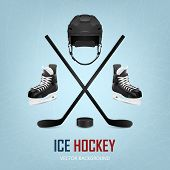foto of ice hockey goal  - Ice hockey helmet puck sticks and skates on ice rink background - JPG