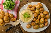pic of pretzels  - Pretzel rolls homemade cheese dip from cheddar with beer and mustard - JPG