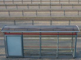 image of tram  - Tram line and Tram stop in city - JPG