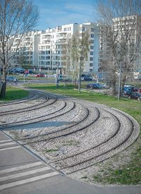 picture of tram  - Tram line and Tram stop in city - JPG