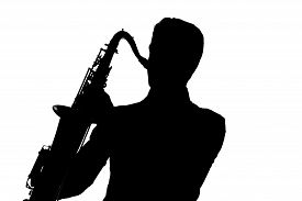 picture of saxophone player  - Saxophone amorous player silhouette isolated on white background - JPG