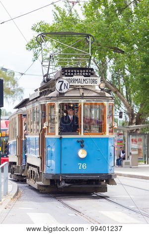 Vintage wooden blue tram, Stockholm, Sweden, Europe.
