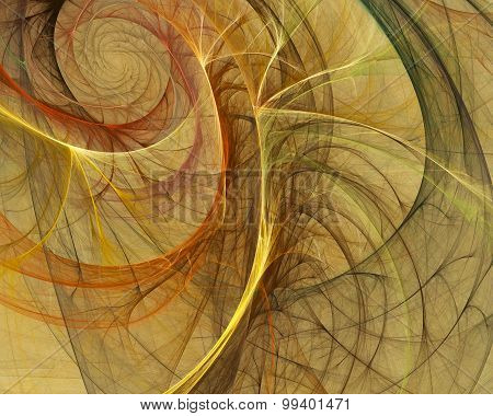 abstract yellow fractal whirl illustration with colored swirls