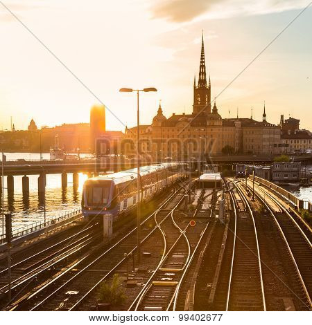 Railway tracks and trains in Stockholm, Sweden.