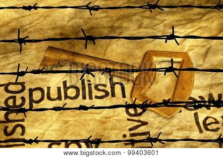 Publish And Golden Key Against Barbwire