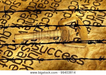 Success And Key Concept Against Barbwire