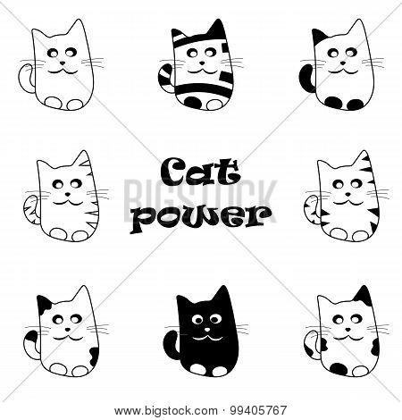 Vector Set Of Funny Cartoon Cats