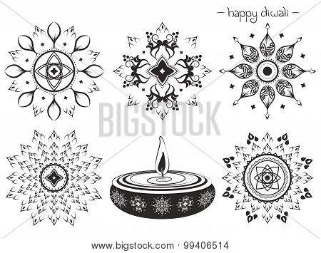 Vector Decorative elements for diwali Design