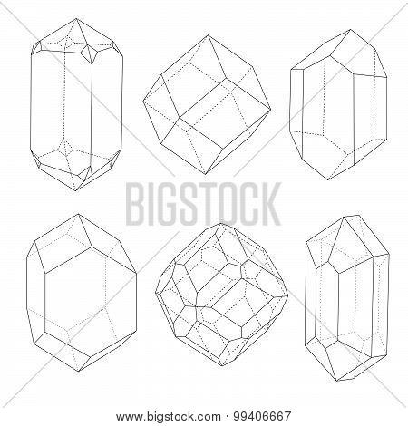 Precious Stones Outlines