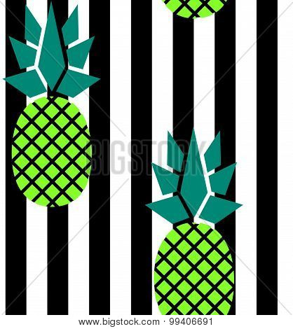 Modern Stripes And Pineapples Pattern