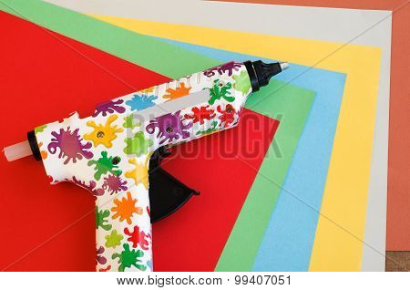 Colorful Hot Glue Gun And Paper