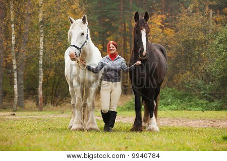 Woman With Two Shire Horses