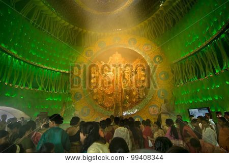 People Enjoying Inside Durga Puja Pandal (decorated Temporary Temple), Festival, Kolkata