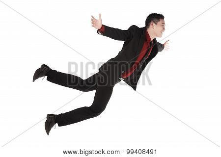 Falling And Screaming Business Man In Formal Wear