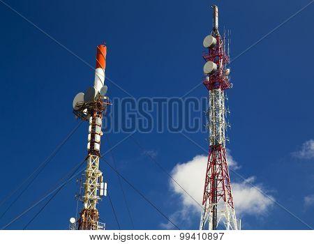 Antenna tower on blue sky